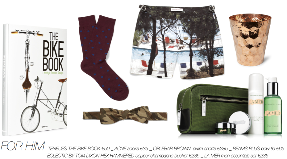 Christmas guide_TENEUES THE BIKE BOOK €50 _ ACNE socks €35 _ ORLEBAR BROWN  swim shorts €285 _ BEAMS PLUS bow tie €65 _ECLECTIC BY TOM DIXON HEX HAMMERED copper champagne bucket €235 _ LA MER men essentials set €235