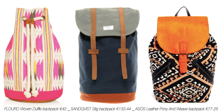 SHOPPING Backpack _ FLOURO Woven Duffle backpack €42 _ SANDQVIST Stig backpack €133.44 _ ASOS Leather Pony And Weave backpack €77.25 _ abeautifulviewonlife.com