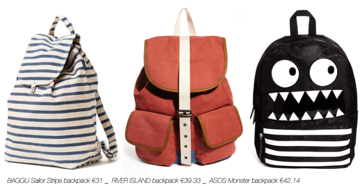 SHOPPING Backpack_BAGGU Sailor Stripe backpack €31 _  RIVER ISLAND backpack €39.33 _  ASOS Monster backpack €42.14 _abeautifulviewonlife.com