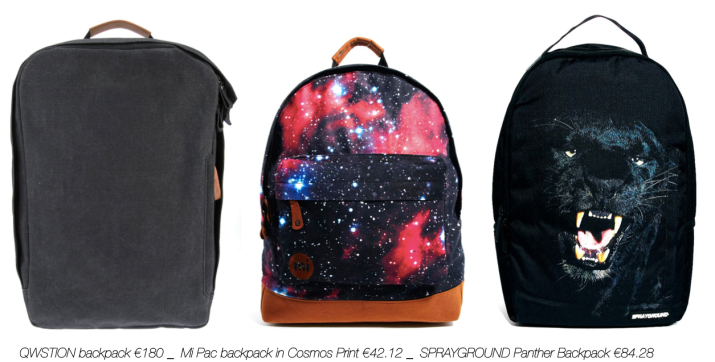 SHOPPING Backpack_QWSTION backpack €180 _  Mi Pac backpack in Cosmos Print €42.12 _  SPRAYGROUND Panther Backpack €84.28 _abeautifulviewonlife.com